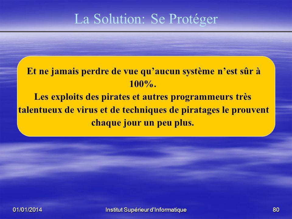 01/01/2014Institut Supérieur d'Informatique79 La Solution: Se Protéger Logiciels dAntiVirus, Proxy Antivirus Logiciels dAntiVirus, Proxy Antivirus Fir