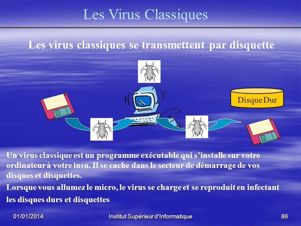 01/01/2014Institut Supérieur d'Informatique85 Les Différents Types de Virus Les Virus Classiques Les Virus Macro Les Vers ou Virus de Messagerie (Worm