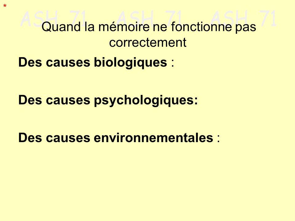 Des causes biologiques : Des causes psychologiques: Des causes environnementales : Quand la mémoire ne fonctionne pas correctement *
