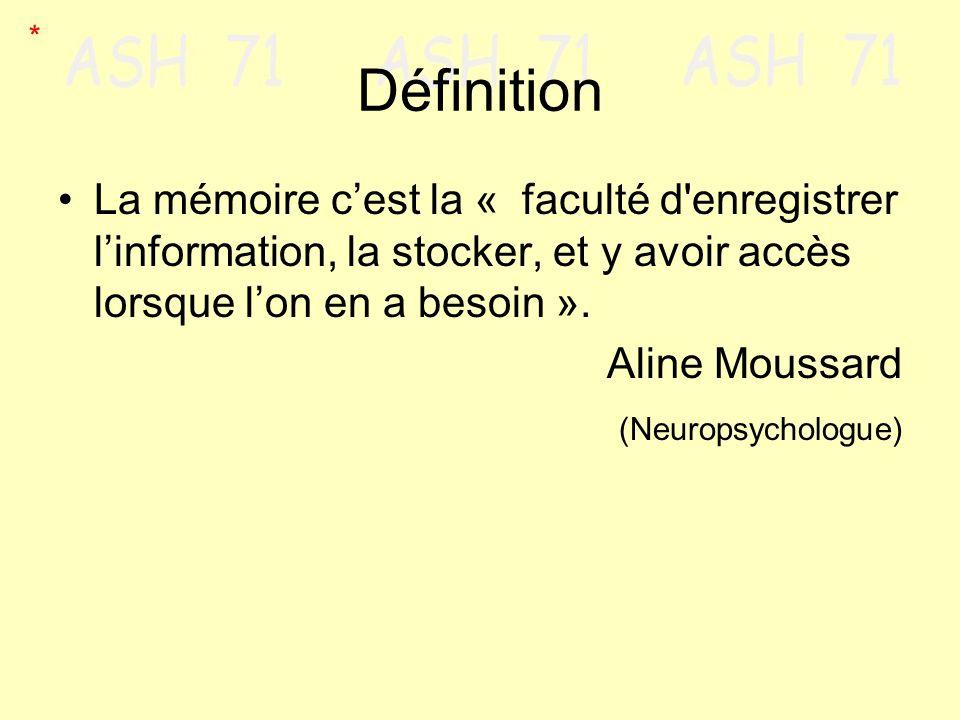 Définition La mémoire cest la « faculté d'enregistrer linformation, la stocker, et y avoir accès lorsque lon en a besoin ». Aline Moussard (Neuropsych