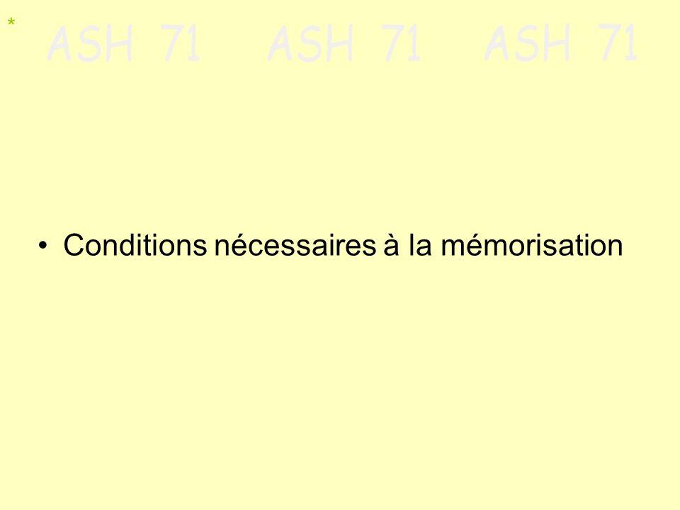 Conditions nécessaires à la mémorisation *