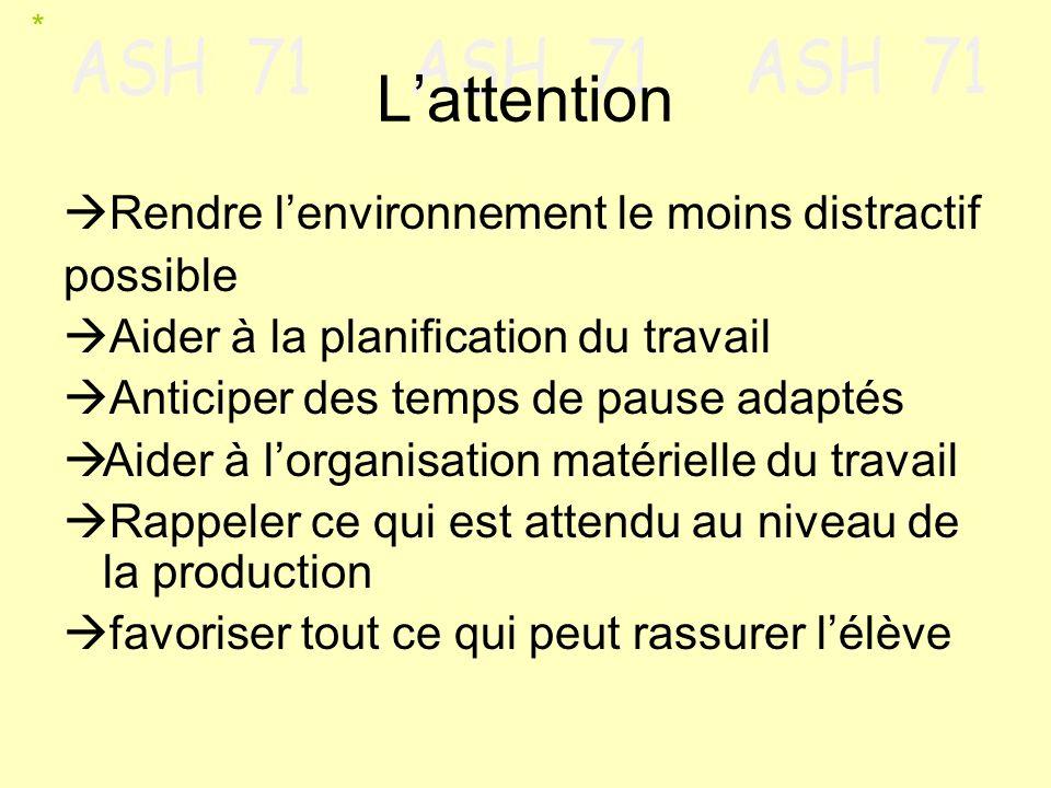 Lattention Rendre lenvironnement le moins distractif possible Aider à la planification du travail Anticiper des temps de pause adaptés Aider à lorgani