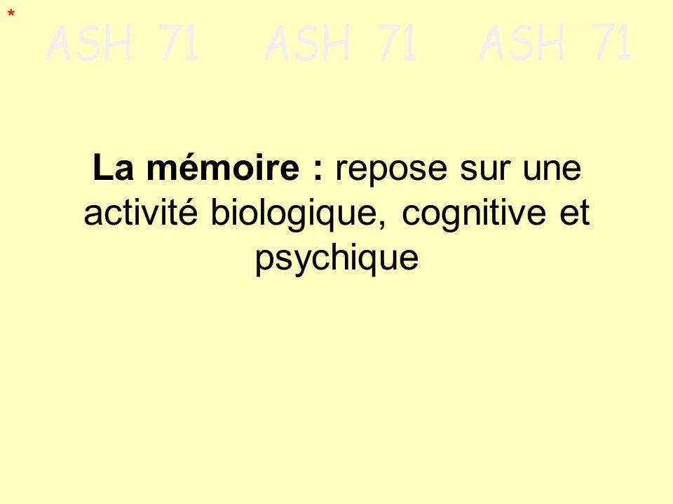 La mémoire : repose sur une activité biologique, cognitive et psychique *