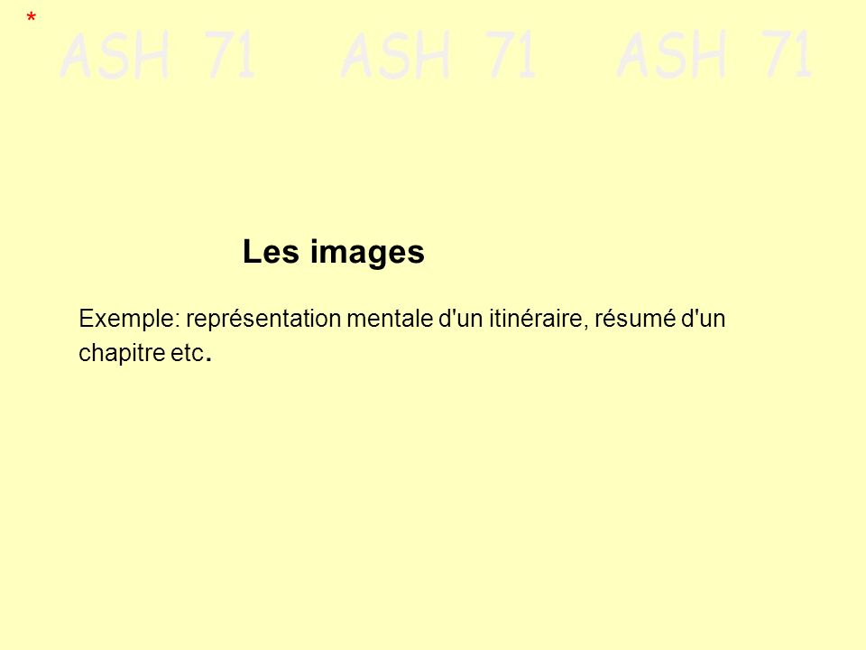 Les images Exemple: représentation mentale d'un itinéraire, résumé d'un chapitre etc. *