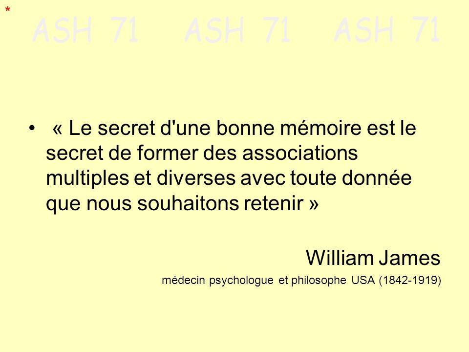 « Le secret d'une bonne mémoire est le secret de former des associations multiples et diverses avec toute donnée que nous souhaitons retenir » William