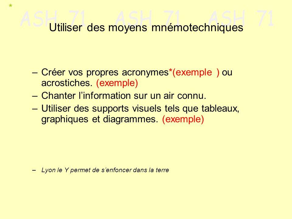 Utiliser des moyens mnémotechniques –Créer vos propres acronymes*(exemple ) ou acrostiches. (exemple) –Chanter linformation sur un air connu. –Utilise