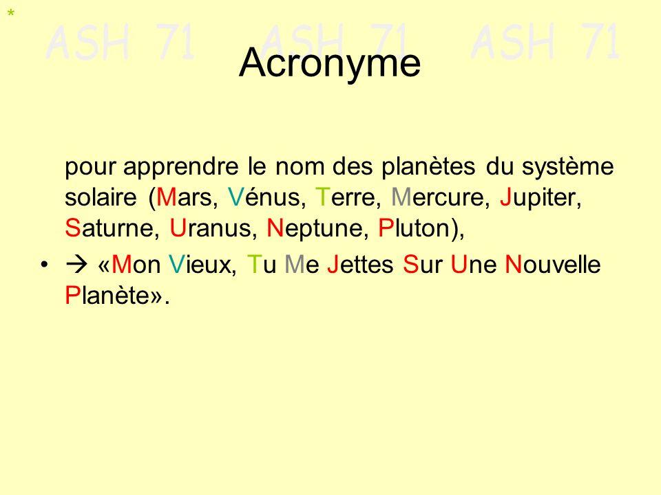 Acronyme pour apprendre le nom des planètes du système solaire (Mars, Vénus, Terre, Mercure, Jupiter, Saturne, Uranus, Neptune, Pluton), «Mon Vieux, T