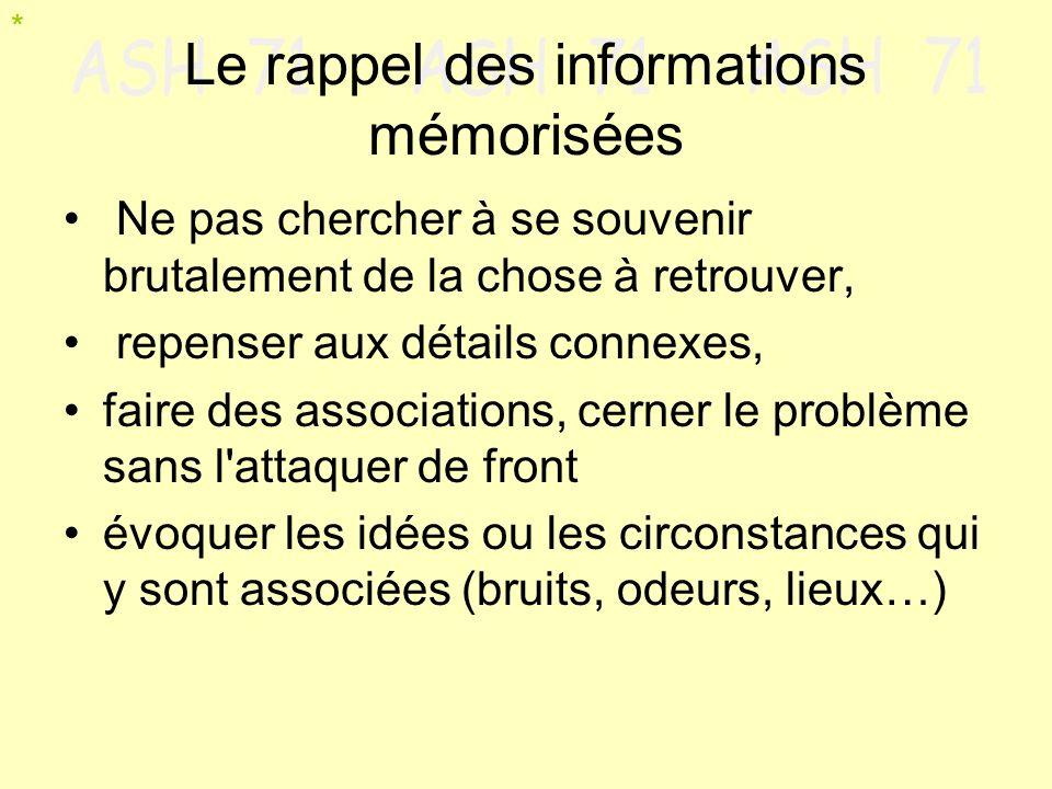 Le rappel des informations mémorisées Ne pas chercher à se souvenir brutalement de la chose à retrouver, repenser aux détails connexes, faire des asso