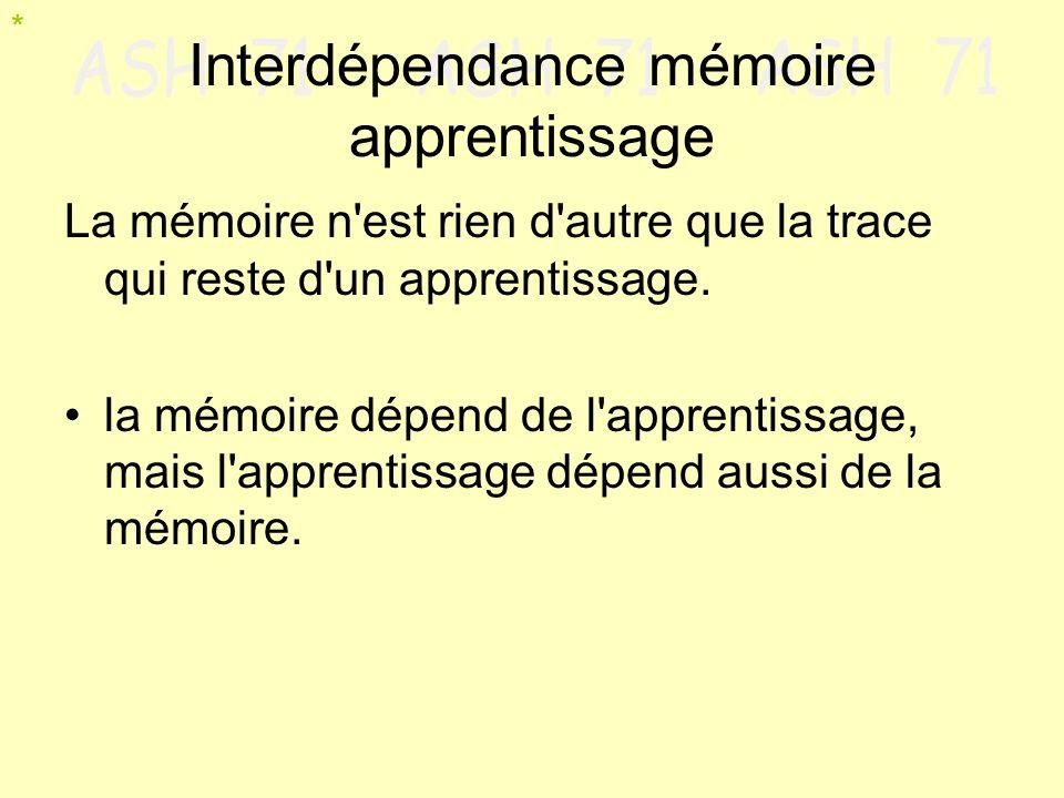 Interdépendance mémoire apprentissage La mémoire n'est rien d'autre que la trace qui reste d'un apprentissage. la mémoire dépend de l'apprentissage, m