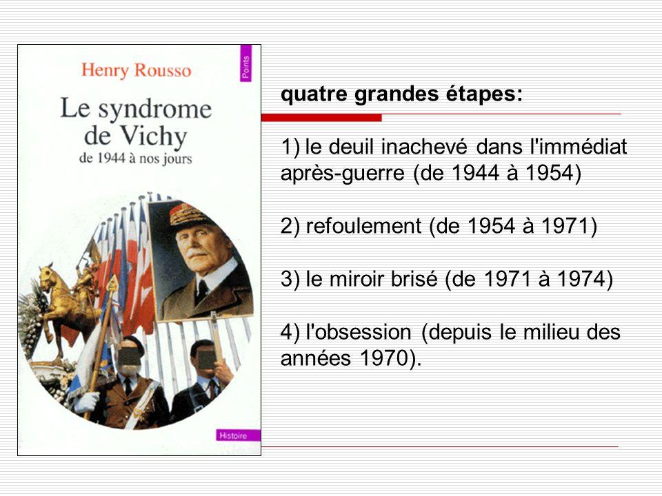 quatre grandes étapes: 1)le deuil inachevé dans l'immédiat après-guerre (de 1944 à 1954) 2) refoulement (de 1954 à 1971) 3) le miroir brisé (de 1971 à