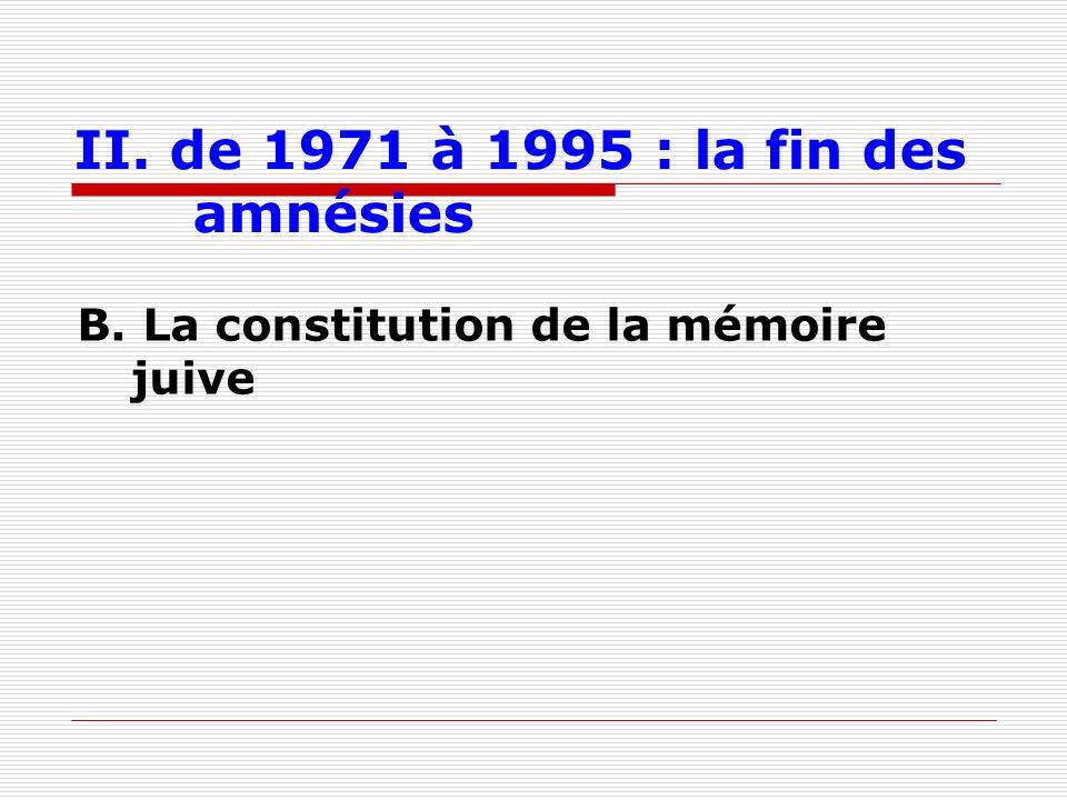 II. de 1971 à 1995 : la fin des amnésies B. La constitution de la mémoire juive