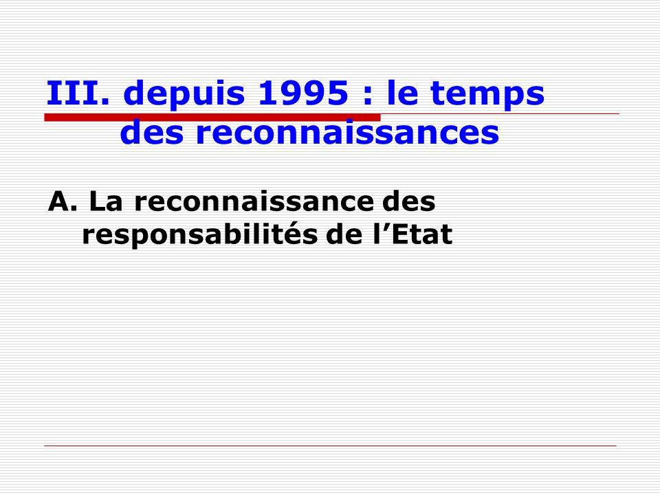 III. depuis 1995 : le temps des reconnaissances A. La reconnaissance des responsabilités de lEtat