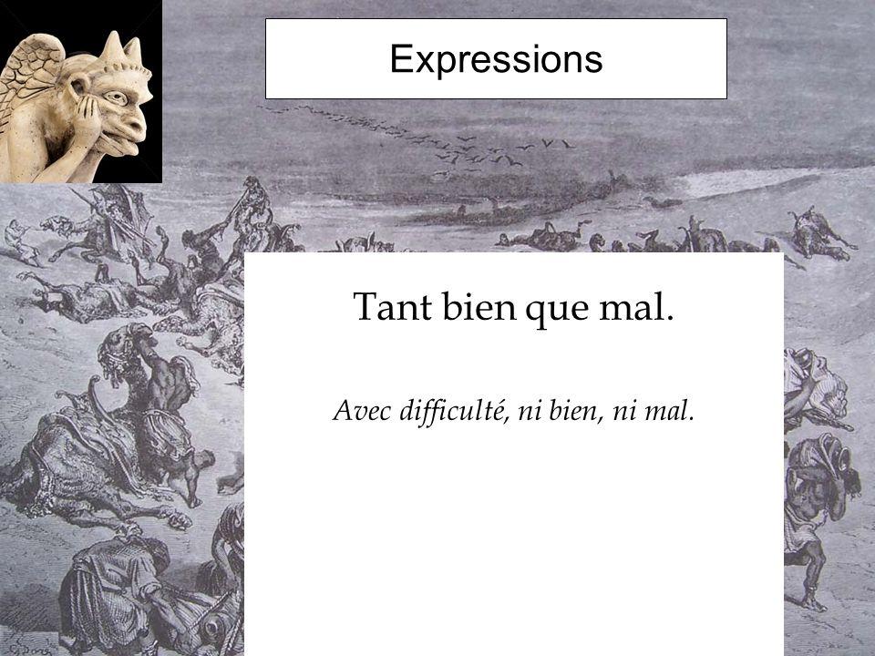 Expressions Tant bien que mal. Avec difficulté, ni bien, ni mal.