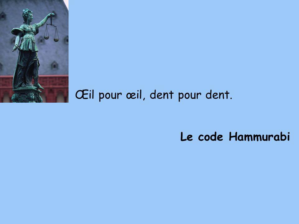 Œil pour œil, dent pour dent. Le code Hammurabi