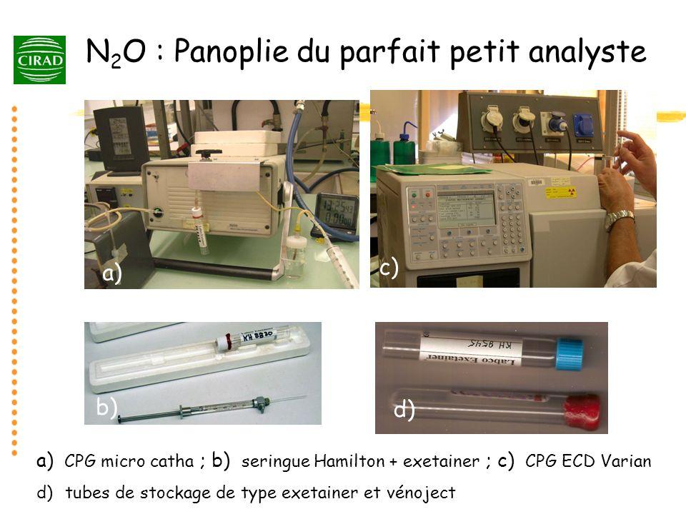 N 2 O : Panoplie du parfait petit analyste a) b) a) CPG micro catha ; b) seringue Hamilton + exetainer ; c) CPG ECD Varian d) tubes de stockage de typ