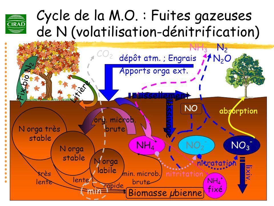 Les conditions de la volatilisation : Apports durée en conditions daérobiose uréase Vent ; Ө CO 2 + NH 3aq H + CEC NH 4 + enfouiss Ө ; humid urée H2OH2O pH (lim 7.2) NH 3atm NH + 4aq NH 3g pKa 5.5 texture Transfert MO enfouiss nitrification