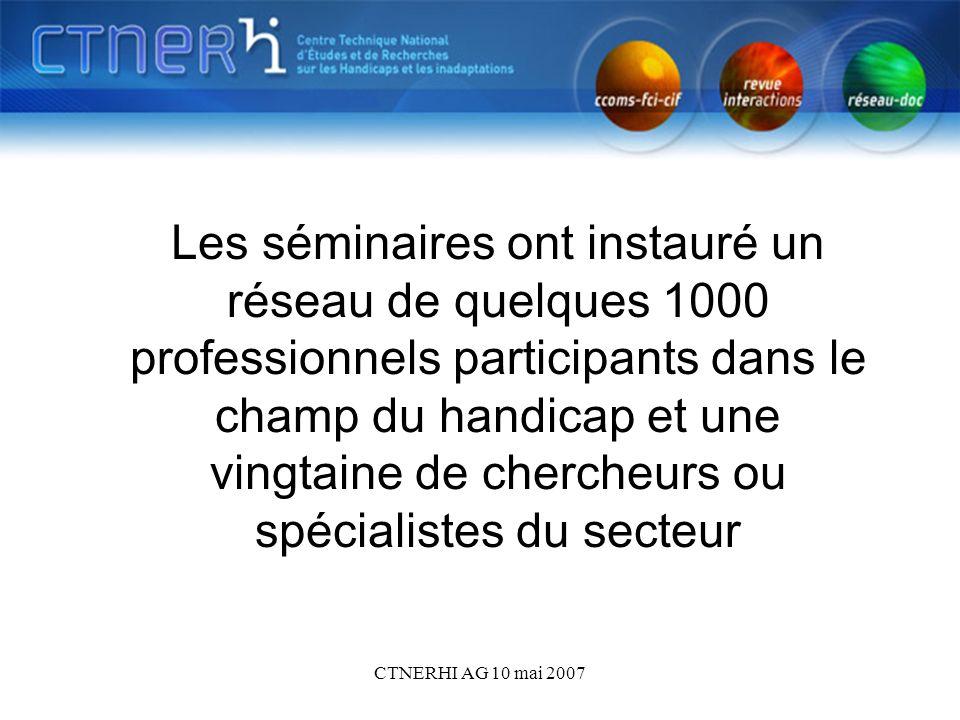 CTNERHI AG 10 mai 2007 Les séminaires ont instauré un réseau de quelques 1000 professionnels participants dans le champ du handicap et une vingtaine de chercheurs ou spécialistes du secteur