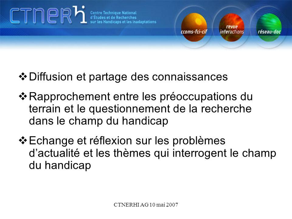 CTNERHI AG 10 mai 2007 Diffusion et partage des connaissances Rapprochement entre les préoccupations du terrain et le questionnement de la recherche dans le champ du handicap Echange et réflexion sur les problèmes dactualité et les thèmes qui interrogent le champ du handicap