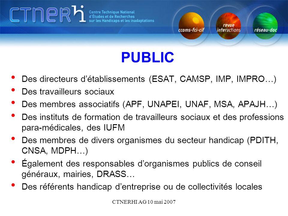 CTNERHI AG 10 mai 2007 PUBLIC Des directeurs détablissements (ESAT, CAMSP, IMP, IMPRO…) Des travailleurs sociaux Des membres associatifs (APF, UNAPEI, UNAF, MSA, APAJH…) Des instituts de formation de travailleurs sociaux et des professions para-médicales, des IUFM Des membres de divers organismes du secteur handicap (PDITH, CNSA, MDPH…) Également des responsables dorganismes publics de conseil généraux, mairies, DRASS… Des référents handicap dentreprise ou de collectivités locales