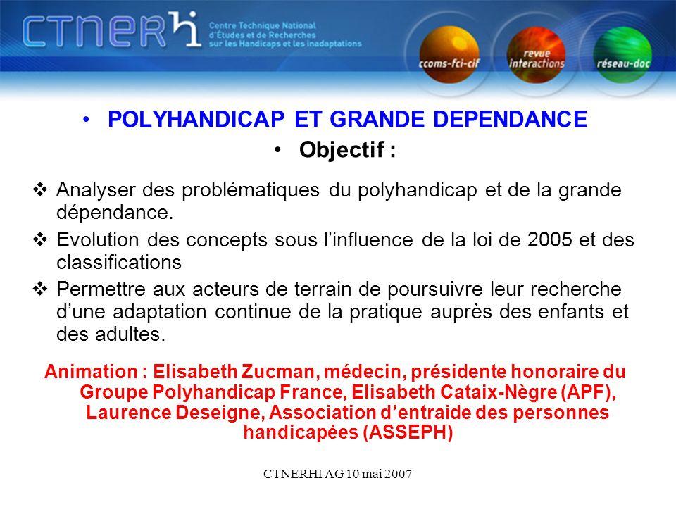 CTNERHI AG 10 mai 2007 POLYHANDICAP ET GRANDE DEPENDANCE Objectif : Analyser des problématiques du polyhandicap et de la grande dépendance.