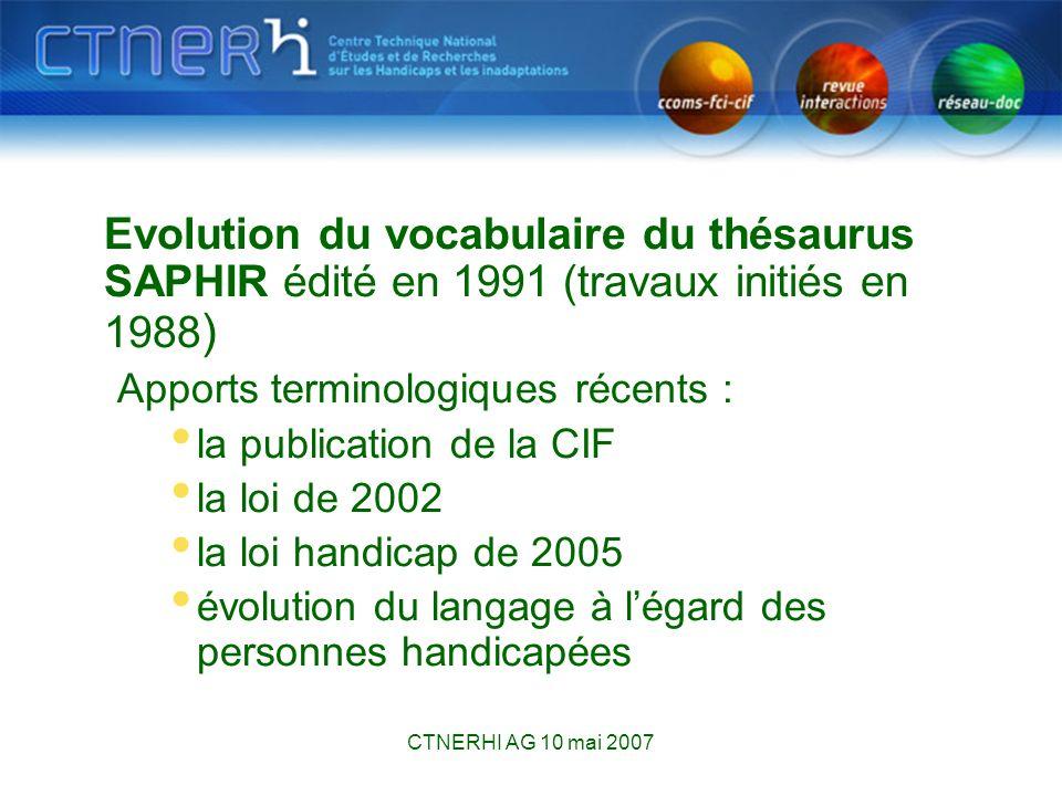 CTNERHI AG 10 mai 2007 Evolution du vocabulaire du thésaurus SAPHIR édité en 1991 (travaux initiés en 1988 ) Apports terminologiques récents : la publication de la CIF la loi de 2002 la loi handicap de 2005 évolution du langage à légard des personnes handicapées