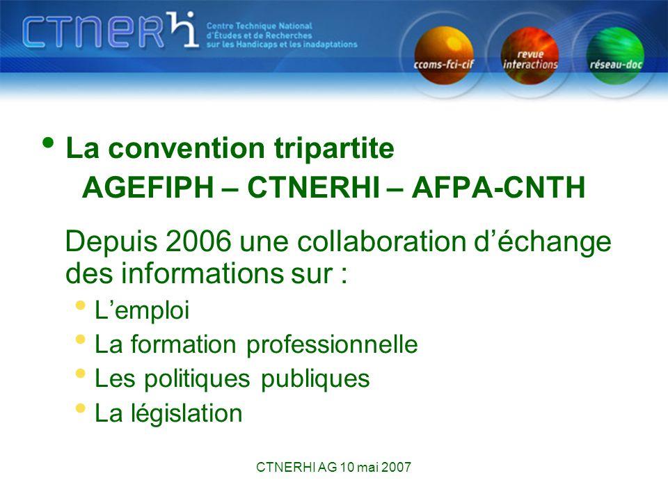 CTNERHI AG 10 mai 2007 Le Réseau des documentalistes sur le handicap créé en 1997 en collaboration avec le CNRH le Réseau-Doc fête ses 10 ans !