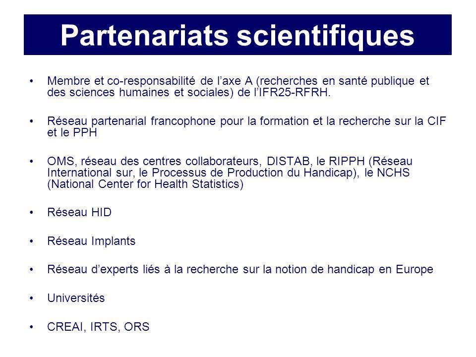 Partenariats scientifiques Membre et co-responsabilité de laxe A (recherches en santé publique et des sciences humaines et sociales) de lIFR25-RFRH.