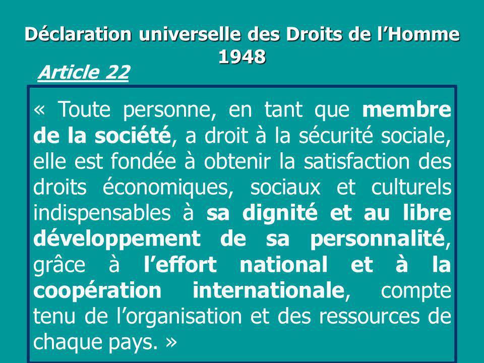 Déclaration universelle des Droits de lHomme 1948 « Toute personne, en tant que membre de la société, a droit à la sécurité sociale, elle est fondée à