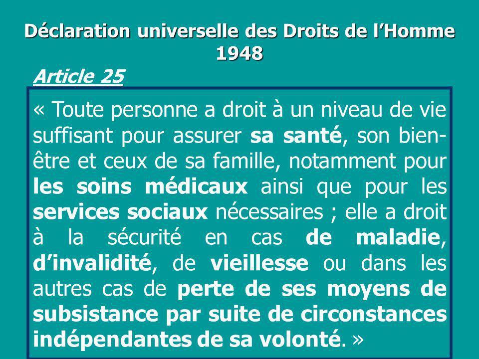 Déclaration universelle des Droits de lHomme 1948 Article 25 « Toute personne a droit à un niveau de vie suffisant pour assurer sa santé, son bien- êt