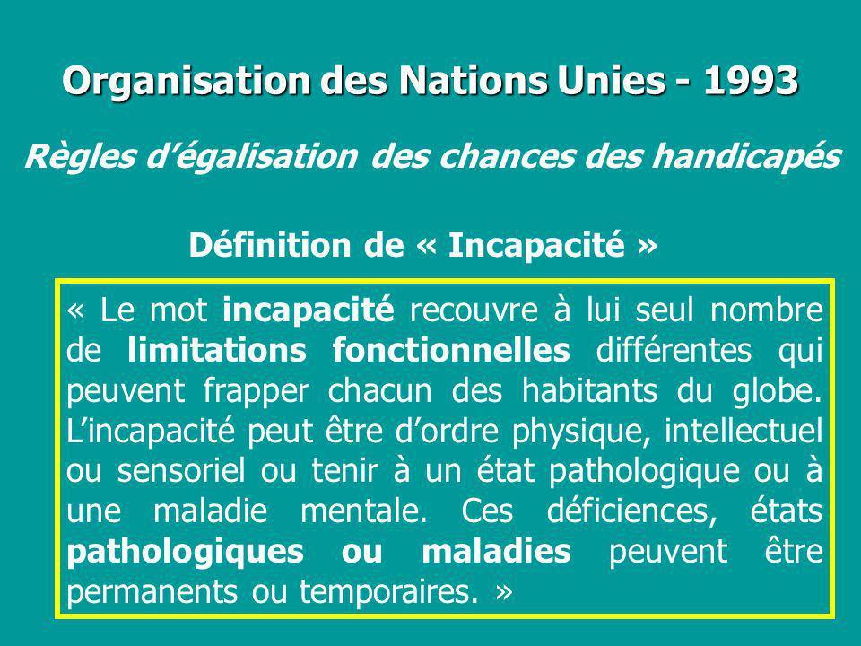 Organisation des Nations Unies - 1993 Définition de « Incapacité » Règles dégalisation des chances des handicapés « Le mot incapacité recouvre à lui s