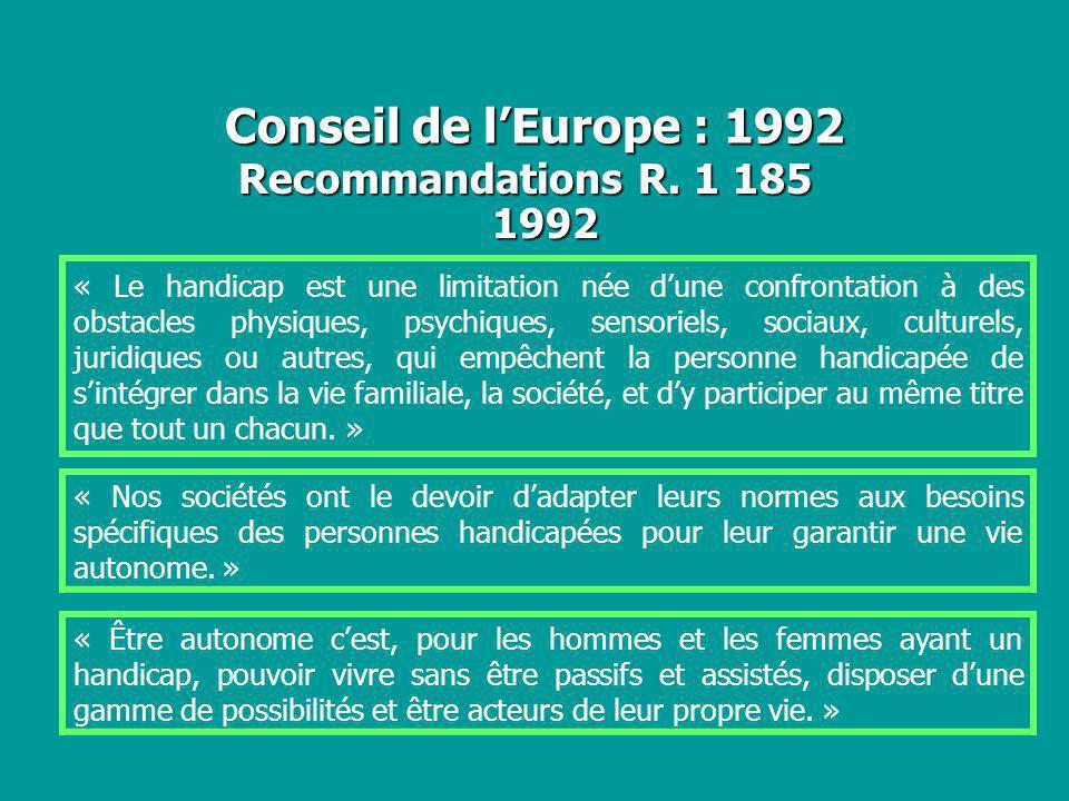 Conseil de lEurope : 1992 Recommandations R. 1 185 1992 « Le handicap est une limitation née dune confrontation à des obstacles physiques, psychiques,
