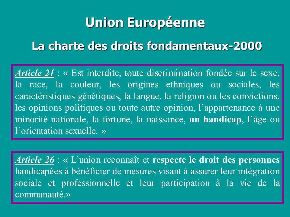 Union Européenne La charte des droits fondamentaux-2000 Article 21 : « Est interdite, toute discrimination fondée sur le sexe, la race, la couleur, le