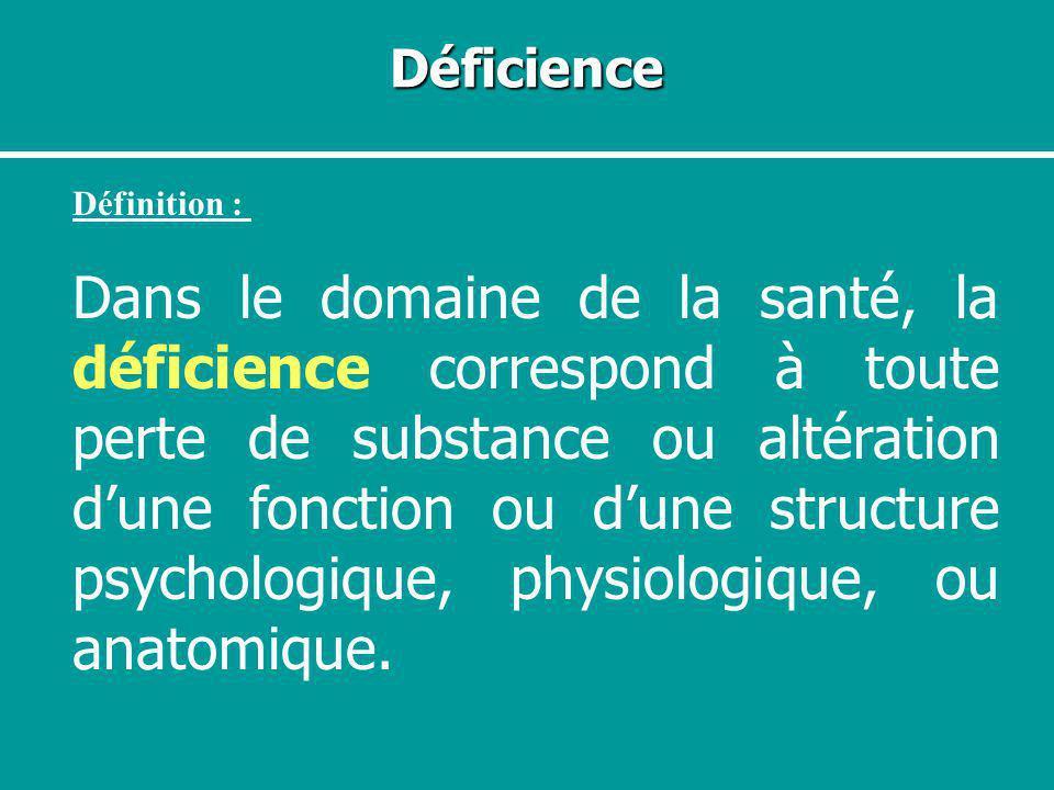 Déficience Définition : Dans le domaine de la santé, la déficience correspond à toute perte de substance ou altération dune fonction ou dune structure
