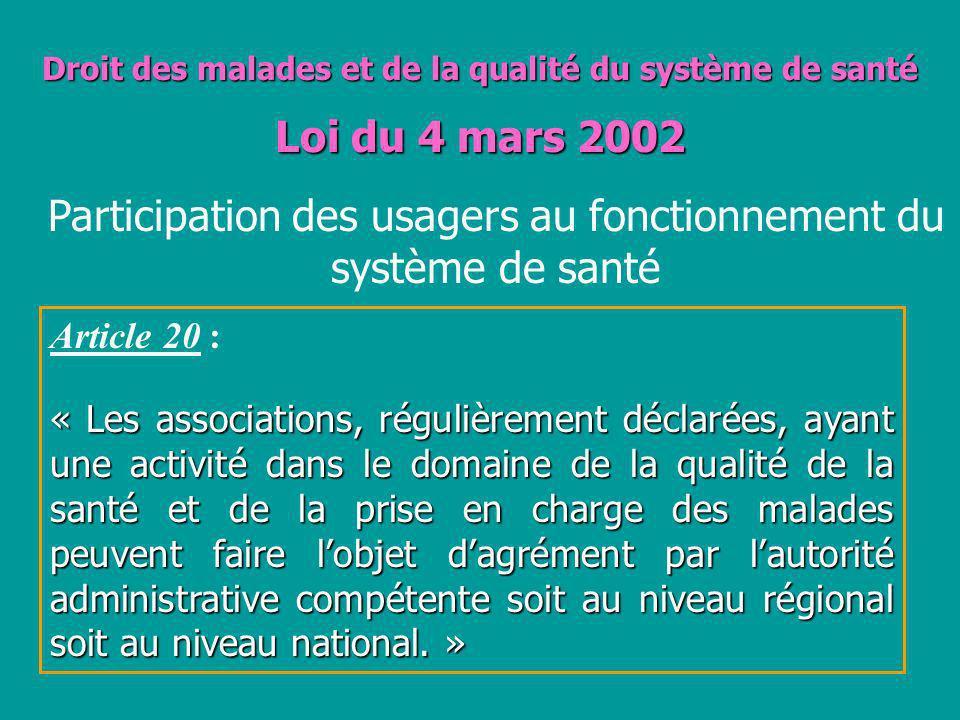 Droit des malades et de la qualité du système de santé Loi du 4 mars 2002 Article 20 : « Les associations, régulièrement déclarées, ayant une activité