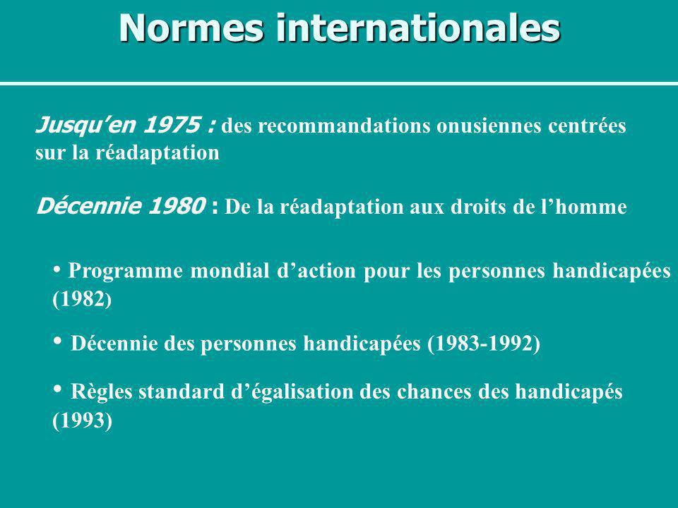 Normes internationales Programme mondial daction pour les personnes handicapées (1982 ) Décennie des personnes handicapées (1983-1992) Règles standard