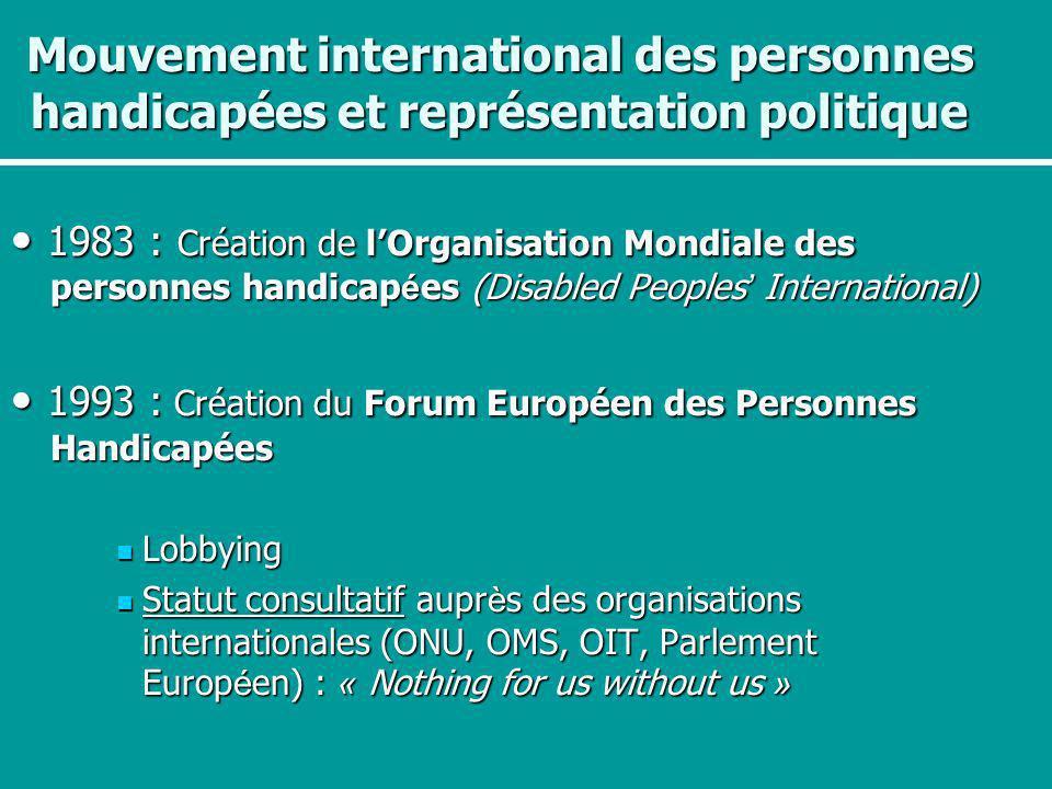 Mouvement international des personnes handicapées et représentation politique 1983 : Création de lOrganisation Mondiale des personnes handicap é es (D