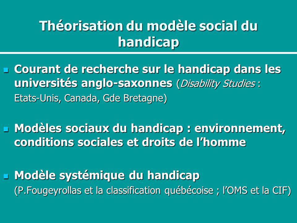 Théorisation du modèle social du handicap Courant de recherche sur le handicap dans les universités anglo-saxonnes (Disability Studies : Courant de re