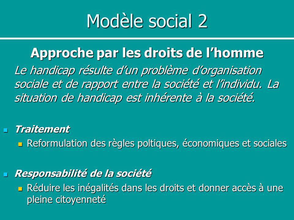 Modèle social 2 Approche par les droits de lhomme Le handicap résulte dun problème dorganisation sociale et de rapport entre la société et lindividu.