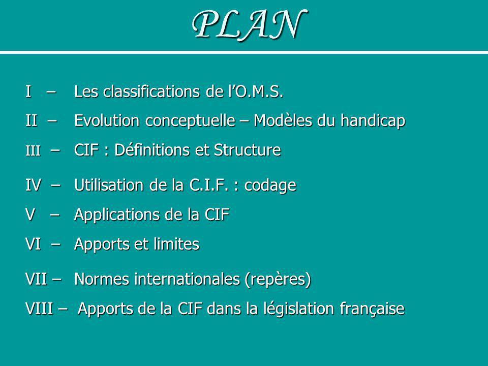 PLAN I – Les classifications de lO.M.S. II – Evolution conceptuelle – Modèles du handicap III – CIF : Définitions et Structure IV – Utilisation de la