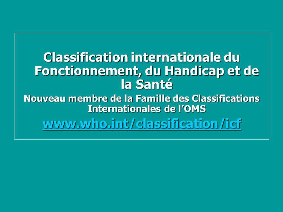 Classification internationale du Fonctionnement, du Handicap et de la Santé Nouveau membre de la Famille des Classifications Internationales de lOMS w