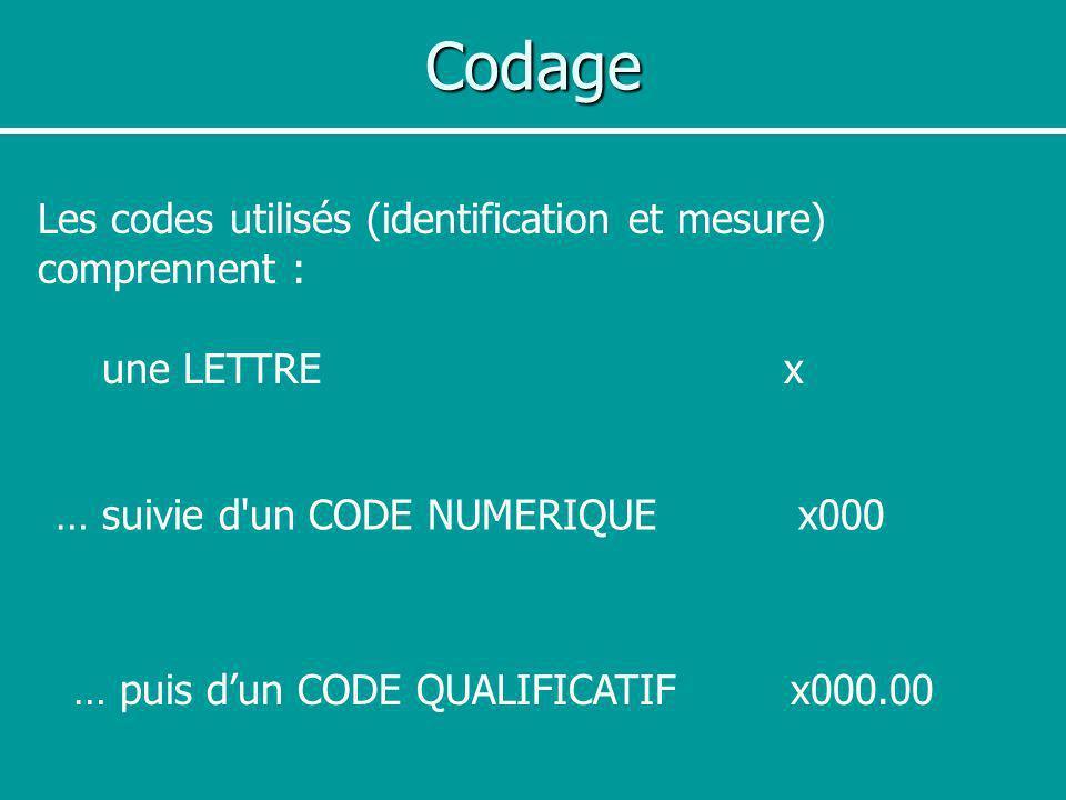 Codage Les codes utilisés (identification et mesure) comprennent : une LETTRE x … suivie d'un CODE NUMERIQUE x000 … puis dun CODE QUALIFICATIF x000.00