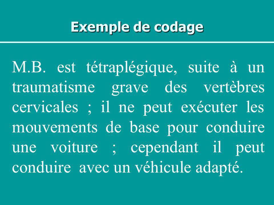 Exemple de codage M.B. est tétraplégique, suite à un traumatisme grave des vertèbres cervicales ; il ne peut exécuter les mouvements de base pour cond