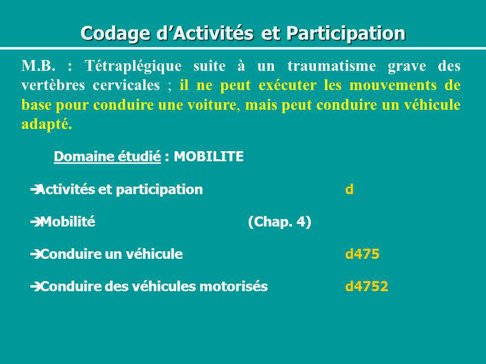 Codage dActivités et Participation M.B. : Tétraplégique suite à un traumatisme grave des vertèbres cervicales ; il ne peut exécuter les mouvements de