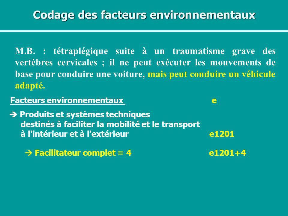 Codage des facteurs environnementaux M.B. : tétraplégique suite à un traumatisme grave des vertèbres cervicales ; il ne peut exécuter les mouvements d