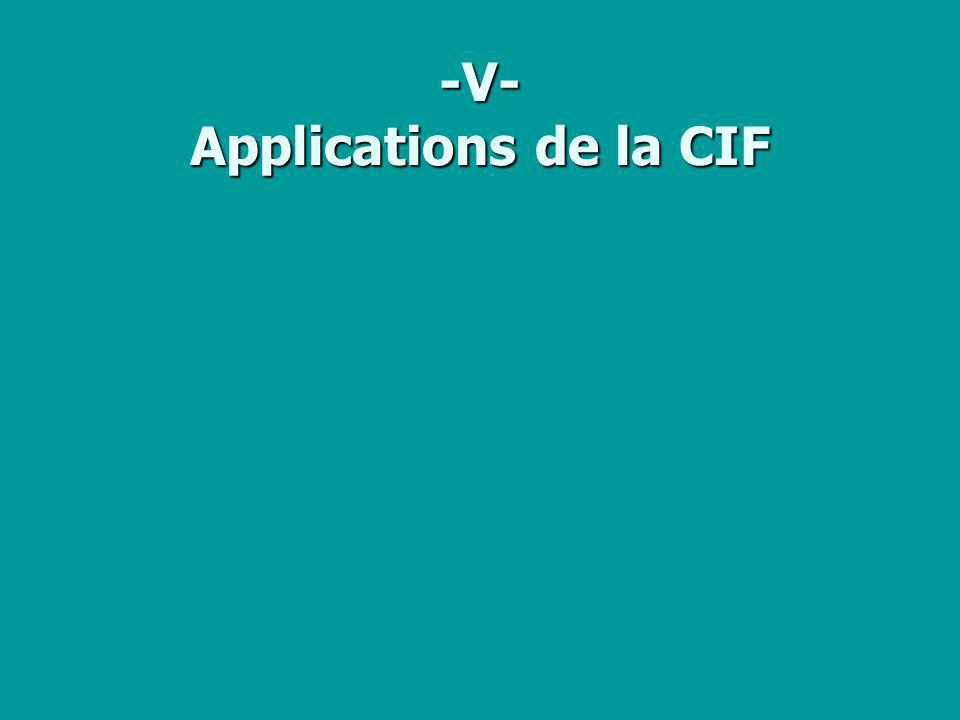 -V- Applications de la CIF