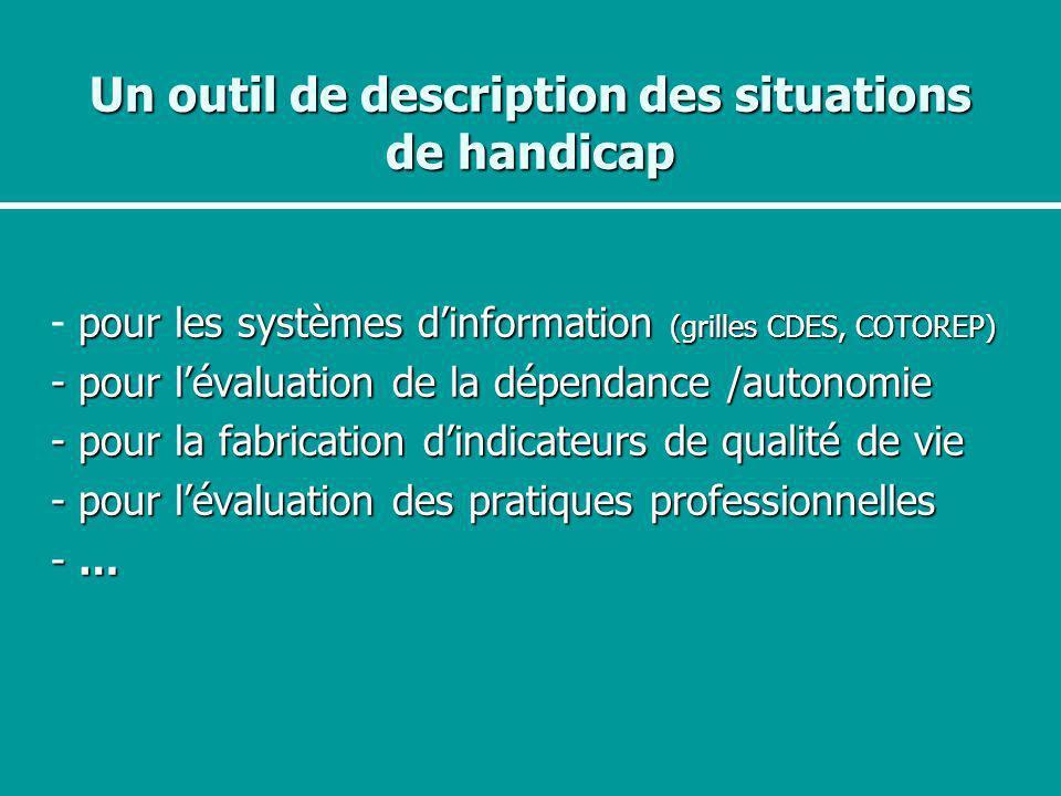 Un outil de description des situations de handicap pour les systèmes dinformation (grilles CDES, COTOREP) - pour les systèmes dinformation (grilles CD