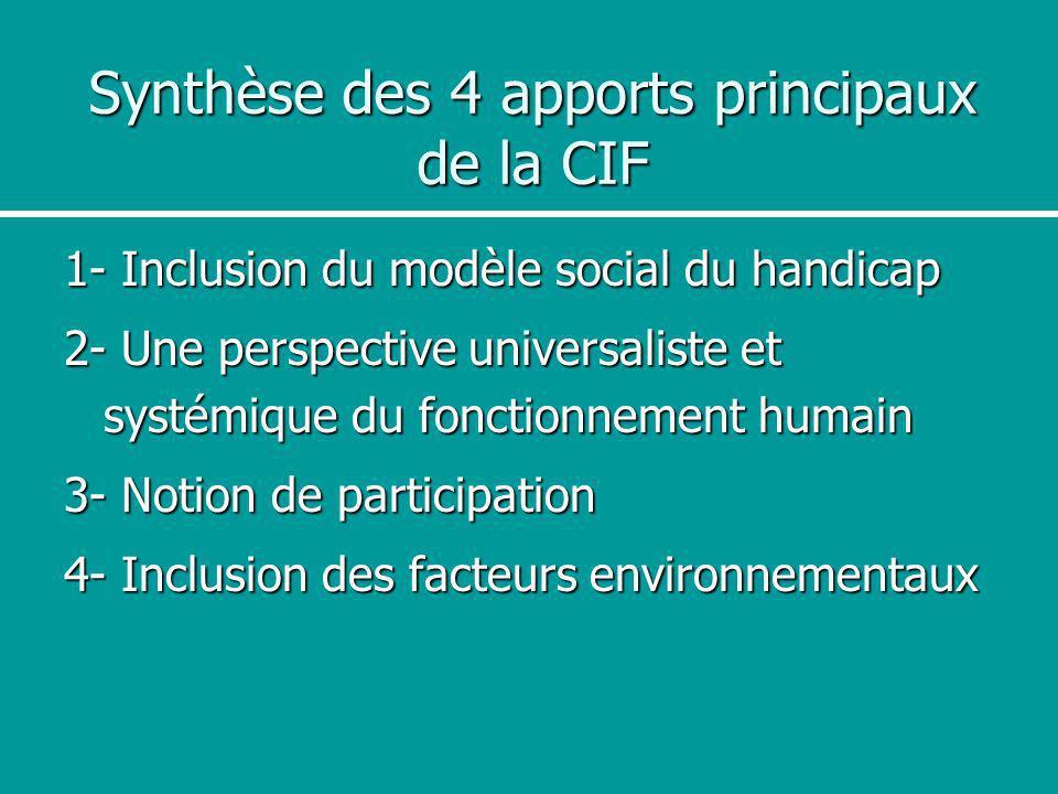 Synthèse des 4 apports principaux de la CIF 1- Inclusion du modèle social du handicap 2- Une perspective universaliste et systémique du fonctionnement