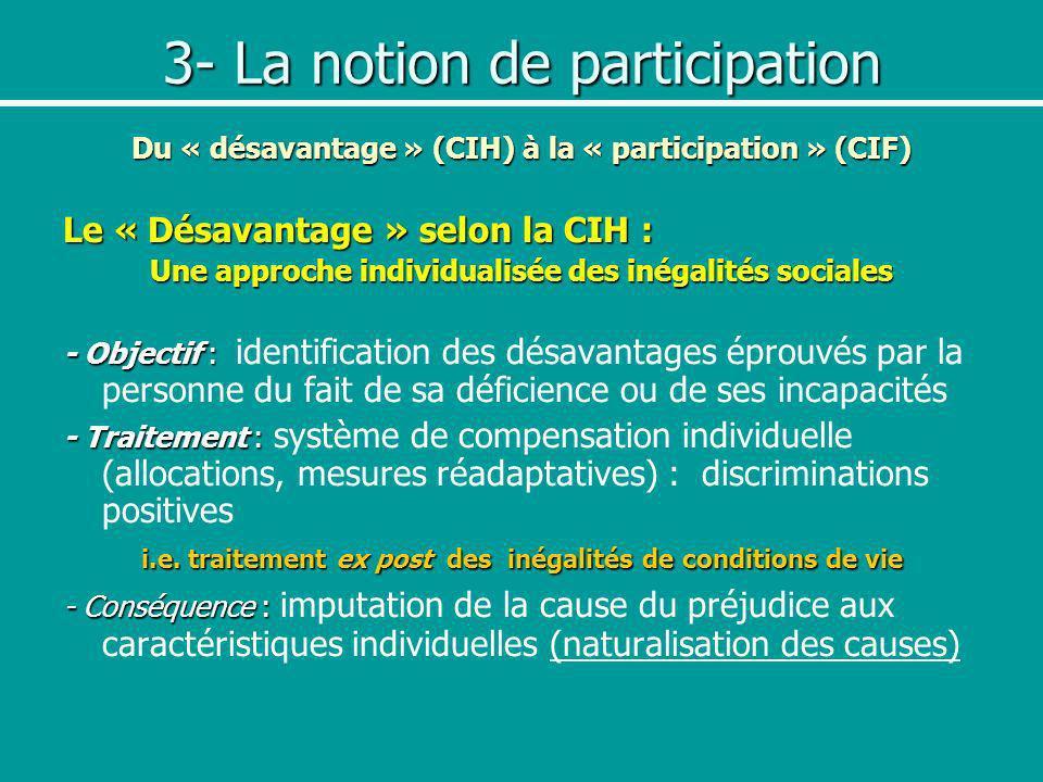 3- La notion de participation Du « désavantage » (CIH) à la « participation » (CIF) Le « Désavantage » selon la CIH : Une approche individualisée des