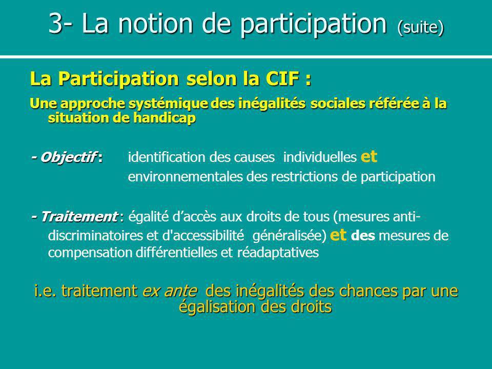 3- La notion de participation (suite) La Participation selon la CIF : Une approche systémique des inégalités sociales référée à la situation de handic