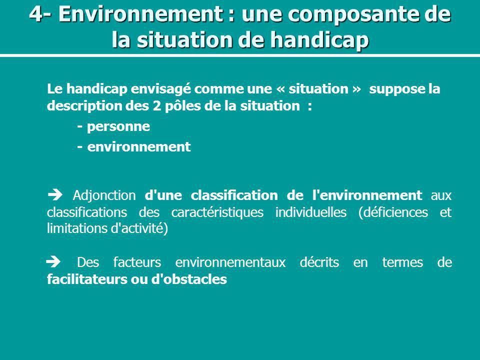 4- Environnement : une composante de la situation de handicap Le handicap envisagé comme une « situation » suppose la description des 2 pôles de la si